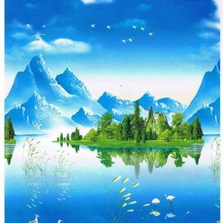山水画卷帘