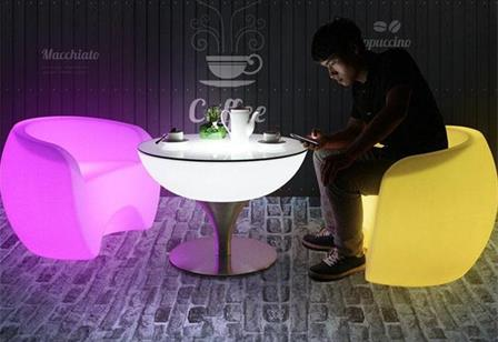 illuminated led lighting small cocktail table