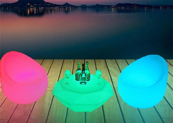 Plastic diamond shape colorful rechargeable LED lighting club pub bar table