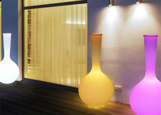 7 stars Hotel decorative illuminate plastic colorful led glow flower pots