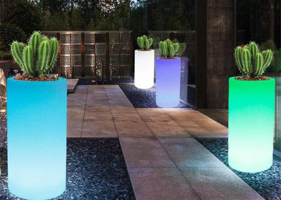 home decor high top round colorful led rechargeable lighting flower pots