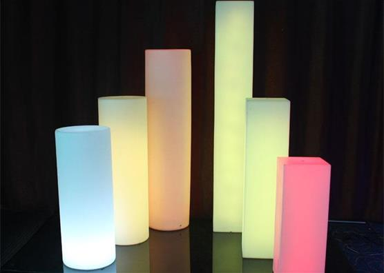 remote control Led colorful plastic Lighting  Pillars for Wedding Decoration